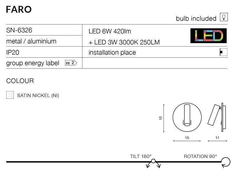 Lampa ścienna Sn 6326 Faro Azzardo Lampy Lampy Zewnętrzne Kinkiety